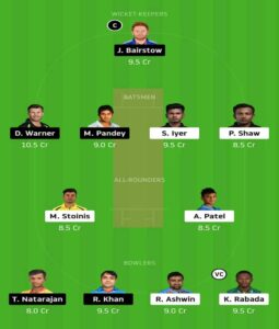 Dc vs SRH Dream 11 Small League