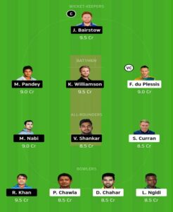 CSK vs SRH Dream 11 Small League Team
