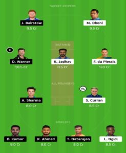 CSK vs SRH Dream 11 Grand League Team