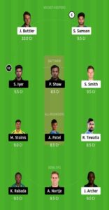 DC vs RR Dream 11 Small League Team