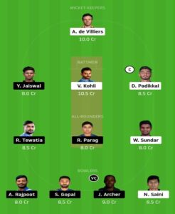 RR vs RCB Dream 11 Grand League team